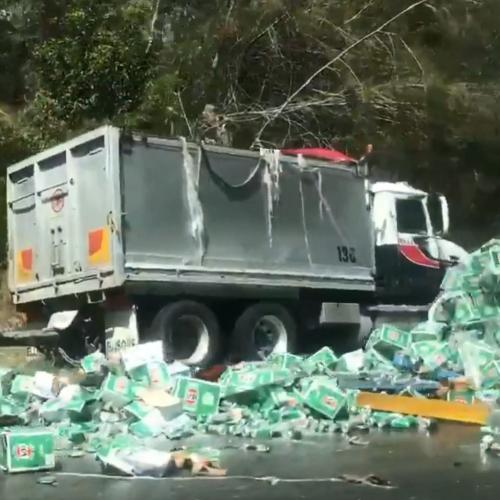 Beer Truck Drops Load All Over Aussie Highway