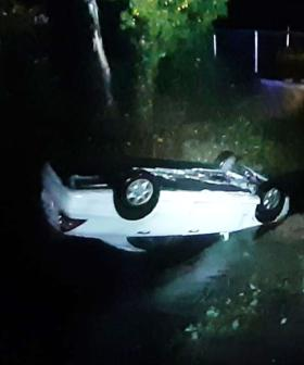Woman Somehow Escapes Serious Injury After Flipping Car Into Aldgate Creek