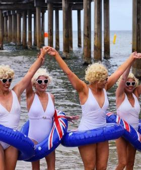 Marilyn Monroe Impersonators Go For A Dip In Brighton Beach For Cancer